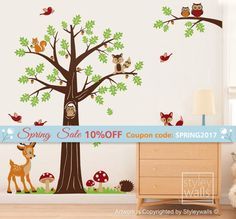 This Forest Animals and Woodland Tree decal pack would be a perfect finishing touch for your babys nursery or kid's room.  The whole scene measures(approx): 93w x 88h. The design elements will come in separate pieces so you can use your own composition to fit your space.  [WHAT IS INCLUDED]  -Tree measuring 60w x 88h -1 Branch with 2 owls measuring 34 x 17 h -1 Deer / Bambi -2 Grasses, each one measuring 22.7 -1 Owl -1 Fox -1 Squirrel -4 Birds -3 Mushrooms -1 Hedgehog - Acorns -1 Raccoon...