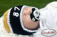 PITTSBURGH PENGUINS HOCKEY Baby Crocheted Hockey Helmet Hat & Logo Pacifier  Hat with Player's Number Size Preemie/Newborn/3 up to 6 Months
