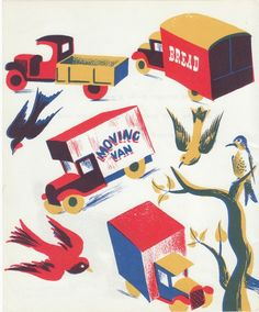"""1940s Vintage trucks print, illustration from children's picture book """"Indoor Noisy Book"""" by Margaret Wise Brown"""