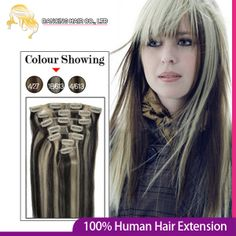 20inch Remy Human Hair Clips in on extensions #1B/613 70g/pcs 7pcs Full Head Women's Clip hair Real Virgin Hair Free Shipping  $26.00
