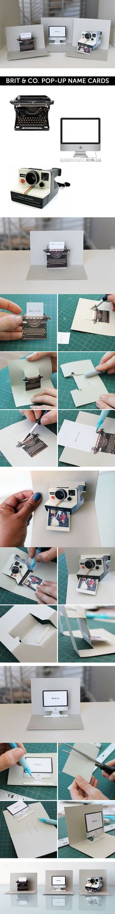 DIY :: Pop up cards (step by step tutorial with printables   http://www.brit.co/pop-goes-the-diy-pop-up-name-card/ )