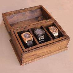 Personalized Rustic Men's Watch Box for 3 by OurWeddingInvites