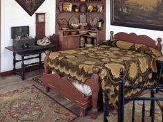 Prim Bedroom...love the prim corner cupboard & under the bed trundle!...Edyth O'Neill.