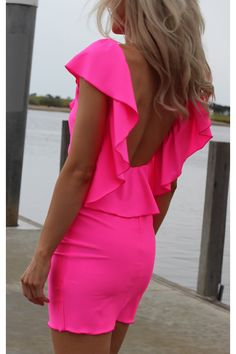pink neon dress with lovely back