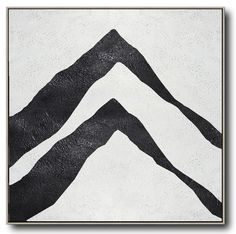 Hand painted black and white painting MN309A, Abstract art, landscape, mountains, minimalist painting for modern interiors and neutral home. Celine Ziang Art (CZArtDesign.com)