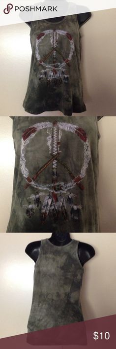 Mountain Girl Native American theme top Green tank top. Dream catcher in front. M size 4-6. Dyed and printed in the USA. 100% cotton. Mountain Girl  Tops Tank Tops