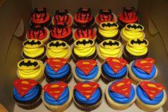 super hero cupcakes - @Heather Williams Norton something like this??