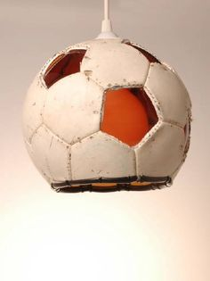 Upcycled football/soccer ball lamp (great idea for dive sports bars or divey dens)