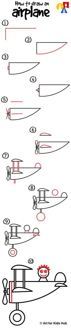 How to draw an airplane, for young artists!