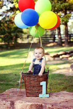 Hot air balloon for 1st boy birthday photo.  See more first boy birthday decorations and party ideas at one-stop-party-ideas.com