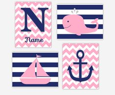 Items similar to NAUTICAL Baby Girl Nursery Wall Art Pink Navy Blue Personalized Decor Whale Sailboat Girls Room Prints Bath Decor Baby Nursery Decor Prints on Etsy Nautical Baby Nursery, Whale Nursery, Nursery Canvas, Baby Girl Nursery Decor, Nursery Wall Art, Nursery Ideas, Baby Room, Navy Nursery, Nursery Room