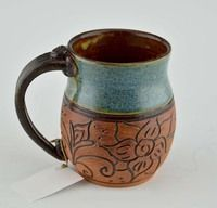 Pottery Mug with a Saying - Green Blue with Carved Brown Flower Band 14 oz