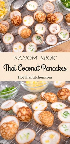 These are a super popular Thai street food. A crisp shell fragrant with jasmine rice, and a soft, luscious custardy coconut filling. Thai Street Food, Thai Dessert, Thai Coconut Pancakes Recipe, Coconut Flan, Thai Recipes, Asian Recipes, Baking Recipes, Asian Desserts, Asian Snacks
