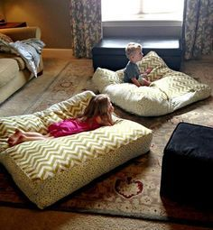 DIY Giant Floor Pillows. Yellow fabric for living room!