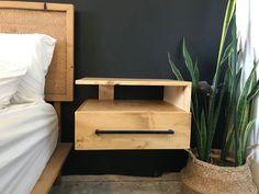OOOOO la la! I love how the shelf is open to the bedside! #nightstands #diy #woodworking #bedroom Woodworking Tutorials, Woodworking Furniture Plans, Nightstands, Floating Nightstand, Bedside, Cool Furniture, Envelopes, Beautiful Homes, Shelf