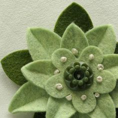 Pistachio Green Felt Flower Pin with Vintage by dorothydesigns, $20.00