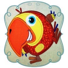 """Harry Toucan Size : 4.98"""" x 5.42"""" Stitches: 13225  This if for the 5x7 HOOP  The following formats are available: DST, EXP, HUS, JEF, PES, VIP, SEW and XXX. Price: $3.00 Embroidery Designs, Toucan, Baby Love, Appliques, Tweety, Disney, Vip, Stitches, Sewing"""