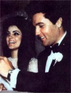 Priscilla and Elvis meeting the press after the wedding ceremony in may 1 1967.