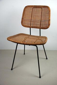 Dirk van Sliedregt; Enameled Metal and Cane Chair for Goed Wonen, 1950s.: