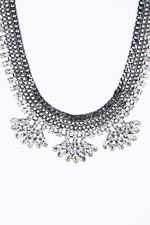 Stone Statement Necklace in Silver at Urban Outfitters