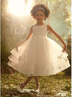 A-Line/Princess Scoop Neck Tea-Length Organza  Satin Flower Girl Dresses With Ruffle  Lace (010007721)
