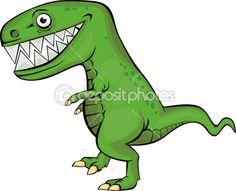 Vectorillustratie van groene dinosaur cartoon — Stockillustratie #6127244