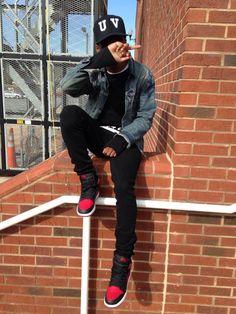 Denim jacket & black jeans