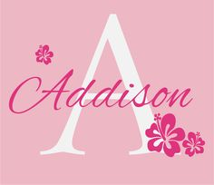 Flower Wall Decals Personalized Name and Initial Wall Decal for Girl Baby Nursery Girls Room Teen Decor Hibiscus Hawaiian 22Hx29W FS219.