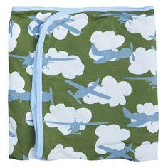 Kickee Pants // Kickee Pants Print Stroller Blanket in Moss Airplane