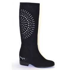 "Desigual Boots ""Africa"", 47TS723 2000, from Desigual Why Collection. Black leather suede boots with beautiful flower circle cutouts in white. Low heel."