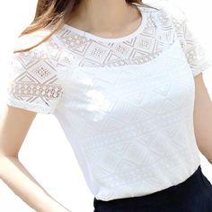 2017 Summer Women White Elegant Lace Blouse Femme Chiffon Shirts Tops Short  Sleeve Blusas Feminina Hollow 5b343405daf0