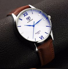 YAZOLE Watch Luxury Blue Glass Watch Men Fashion Waterproof Business Watch Mens Watches Hour Gift montre homme relogio masculino Like and share this pure awesomeness! Mens Watches Leather, Leather Men, Soft Leather, Classic Leather, Brown Leather, Sport Watches, Watches For Men, Men's Watches, Dress Watches