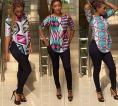African print blouse, Ladies Blouse, Ankara tops, African fabric, african clothe - www. African Tops, African Dresses For Women, African Print Dresses, African Attire, African Fashion Dresses, African Wear, African Women, African Prints, Ghanaian Fashion