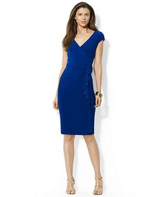 American Living Cap-Sleeve Surplice-Neck Ruffled Dress $69