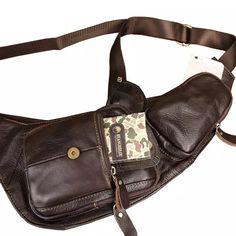 Bolso Vintage de cuero genuino para hombre, bolso de pecho, bandolera de cuerpo cruzado, bolso de hombro informal, viaje militar, senderismo, motocicleta