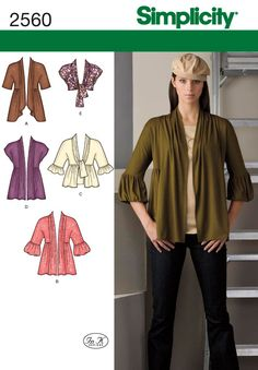 Simplicity 2560 Misses' Knit Cardigans Sewing Pattern. Perfect for sewing multiple styles of coverups, shrugs, and cardigans. Knit Cardigan Pattern, Shrug Pattern, Shrug Cardigan, Bolero Jacket, Purple Cardigan, Simplicity Sewing Patterns, Vintage Patterns, Vintage Sewing, Thing 1