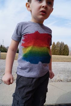 Rainbow Pride T-Shirt for Kids with Open-Minded Parents!  We made this for kids with two moms or two dads!
