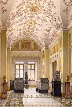 Interiors of the New Hermitage. Cabinet of Egyptian Sculptures