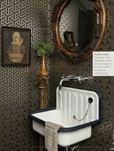 powder room sinks - white enameled tin Depression style wall-hung lavabo with plunger - Trad Home via Atticmag Lavabo Vintage, Vintage Sink, Vintage Art, Vintage Bathroom Sinks, Bathroom Wall Decor, Bathroom Wallpaper, Print Wallpaper, Geometric Wallpaper, Midcentury Wallpaper