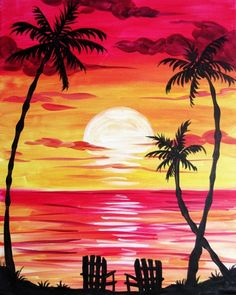 Raise your glass to a NEW kind of night out! Paint Nite® invites you to create art over cocktails at a local restaurant or bar, guided by a professional artist and party host. Grab your friend Watercolor Art, Small Canvas Art, Nature Art Painting, Painting, Art, Painting Art Projects, Canvas Art, Sunset Painting, Cute Canvas Paintings