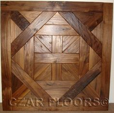 Bordeaux parquet made in hand scraped, Character grade American Walnut, ID393. Check pictures of other inlays, wood and stone medallions, borders and parquet from Czar Floors.
