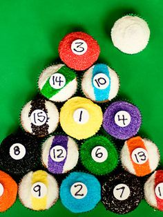 Colored sprinkles and Necco wafer numbers make these pool-table staples surprisingly easy to decorate.