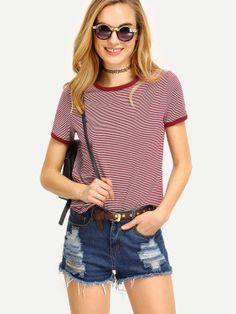 T-shirt à rayure manche courte -multicolore