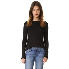 ATM Anthony Thomas Melillo Long Sleeve Boat Neck Tee ($150) ❤ liked on Polyvore featuring tops, t-shirts, black, long sleeve jersey t shirts, boat neck tee, boat neck tops, longsleeve tee and long sleeve jersey