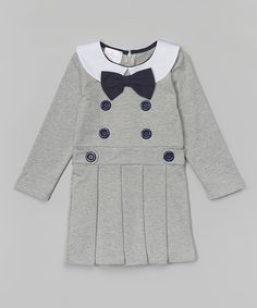 Love this Gray Pleated Button Dress - Toddler & Girls by Blossom Couture on #zulily! #zulilyfinds
