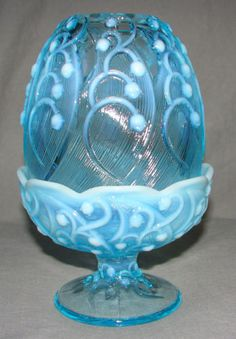 Fenton Art Glass Blue Opalescent Lily of The Valley Fairy Lamp Light Iridized | eBay