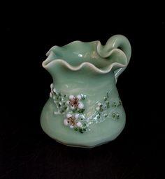 Vintage JAPANESE Pottery Vase CELADON Creamer CHERRY Blossoms Flower Signed #JapanesePottery #JapaneseTableware https://www.etsy.com/listing/175262756/vintage-japanese-pottery-vase-celadon?ref=shop_home_active_4