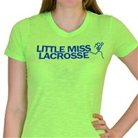 Womens Neon Series Lacrosse Tee Little Miss Lacrosse - Our brightly colored, neon tee is sure to make a splash. Each light weight, heathered shirt features a slim, womens cut, cap sleeves, and textured ribbing in the fabric.