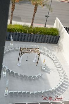 Spiral ceremony in the outdoor pavilion of MEET Las Vegas, downtown. Photo: Pinup Bride Photography