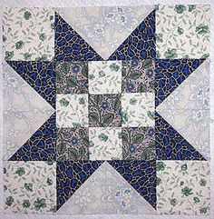 "Free Quilt Block Patterns: Evening Star Quilt Block with Nine-Patch Centers - 12"" Blocks"